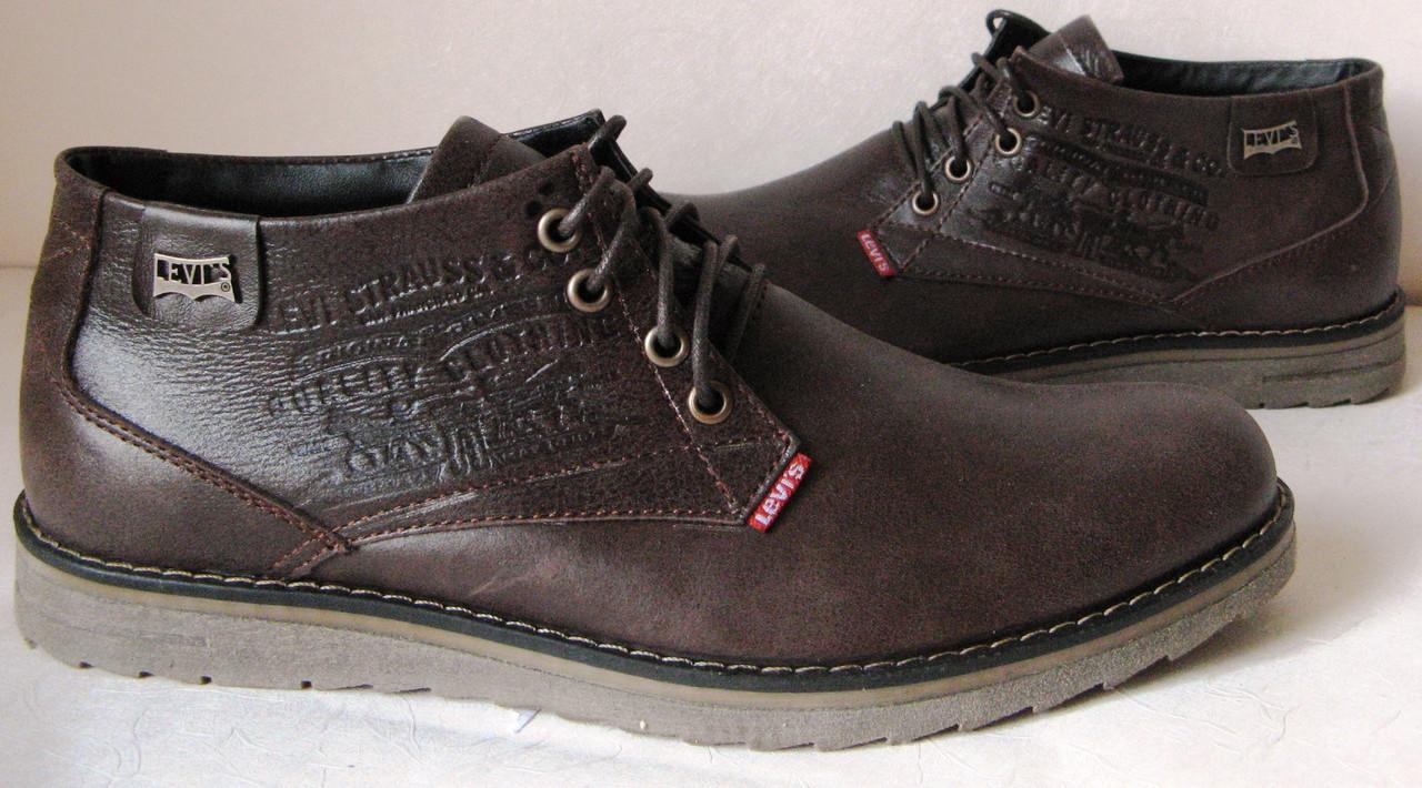 43f129bc Levis зимние коричневые кожаные мужские ботинки в стиле Левис -  Trendy-brendy.com в