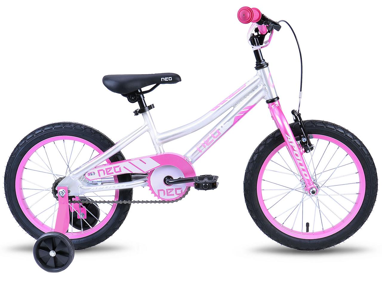 """Велосипед 16"""" Apollo Neo girls Brushed Alloy / Pink / White 2019"""