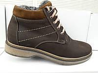 Зимние мужские кожаные ботинки БЧ коричневого цвета