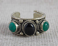 """Кольцо """"3 камня"""" с обсидианом, бирюзой и зеленым ониксом. Кольца с камнями"""