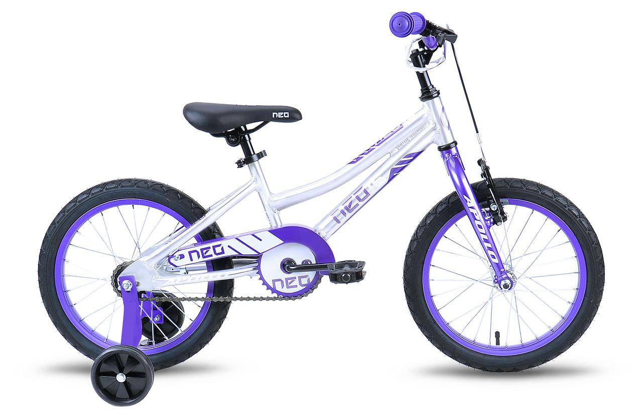 "Велосипед 16"" Apollo Neo girls Brushed Alloy / Purple / White 2019"