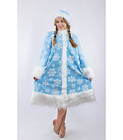 Карнавальный костюм Снегурочки со снежинками для взрослого