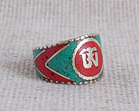 """Кольцо с символом """"Ом"""" и эмалью из каменной крошки. Кольца с эмалью"""