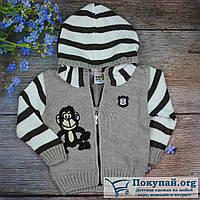 Вязаная кофта на молнии для мальчика Размеры: 1-2-3 года (5666-1)