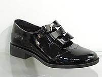 Стильные молодежные женские туфли лаковые натуральные