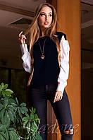 Модная темно-синяя блуза Венециано Jadone Fashion 42-48 размеры