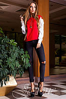 Модная красная блуза Венециано Jadone Fashion 42-48 размеры