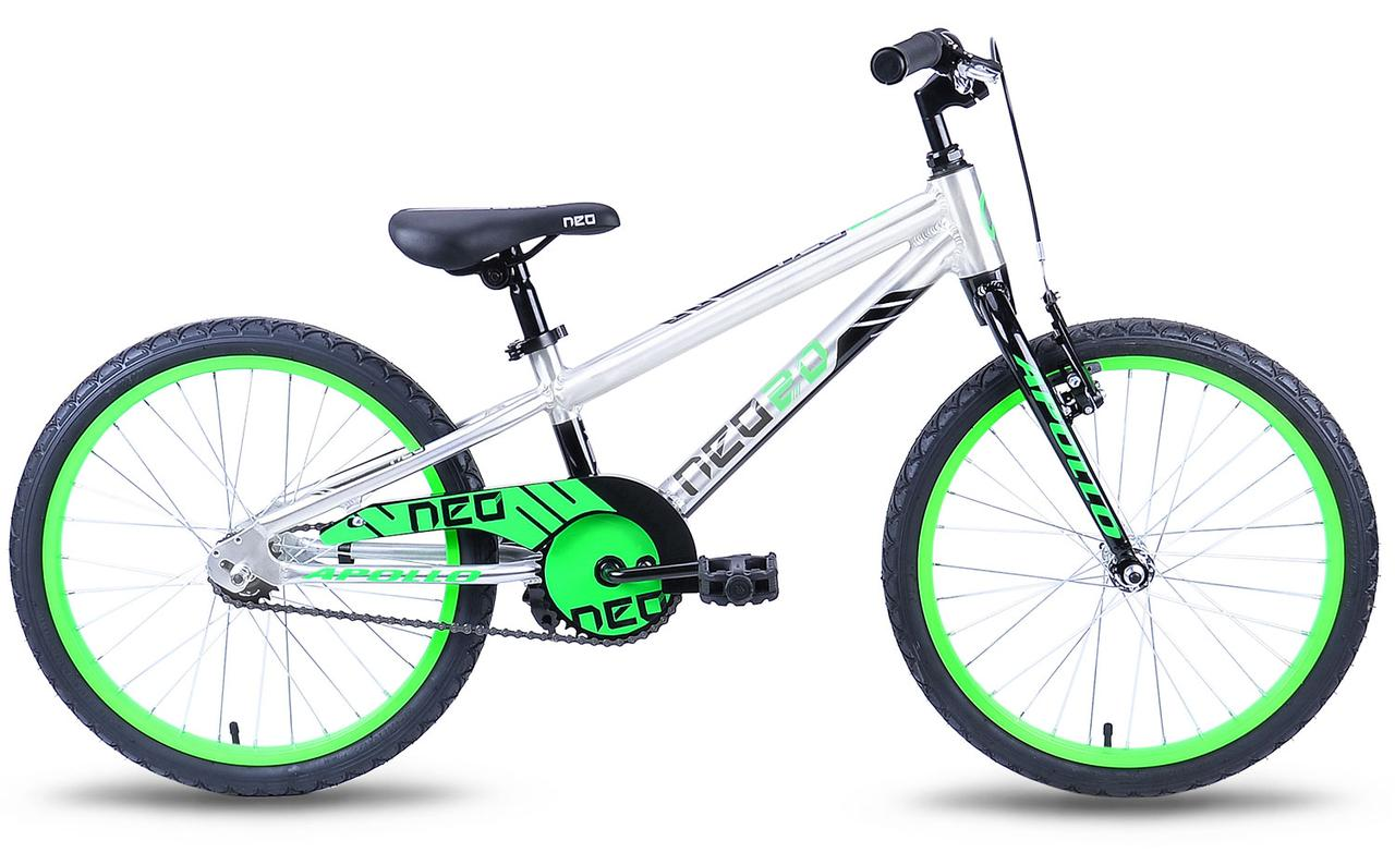 "Велосипед 20"" Apollo Neo boys Brushed Alloy / Black / Neon Green 2019"