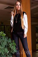 Модная черная блуза Венециано Jadone Fashion 42-48 размеры