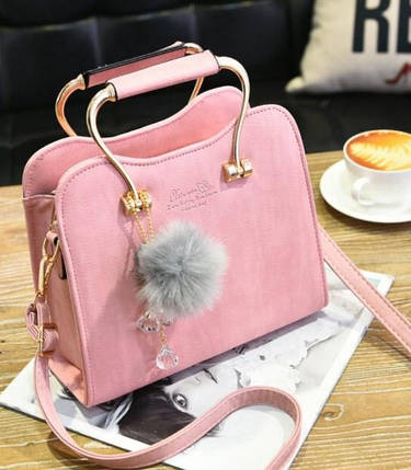 Шикарная каркасная сумка с фигурными ручками и помпоном, фото 2
