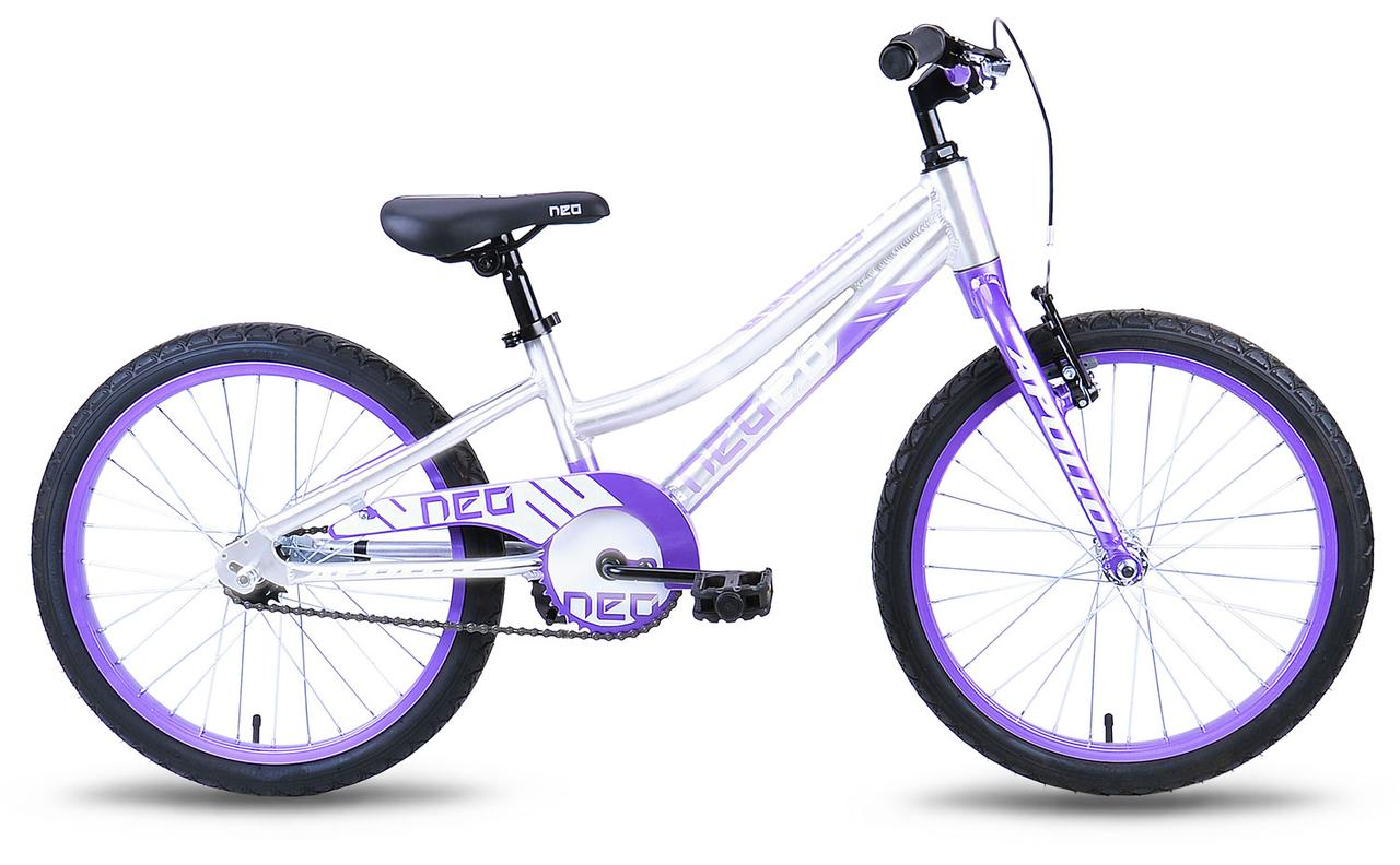 "Велосипед 20"" Apollo Neo girls Brushed Alloy / Lavender / White 2019"