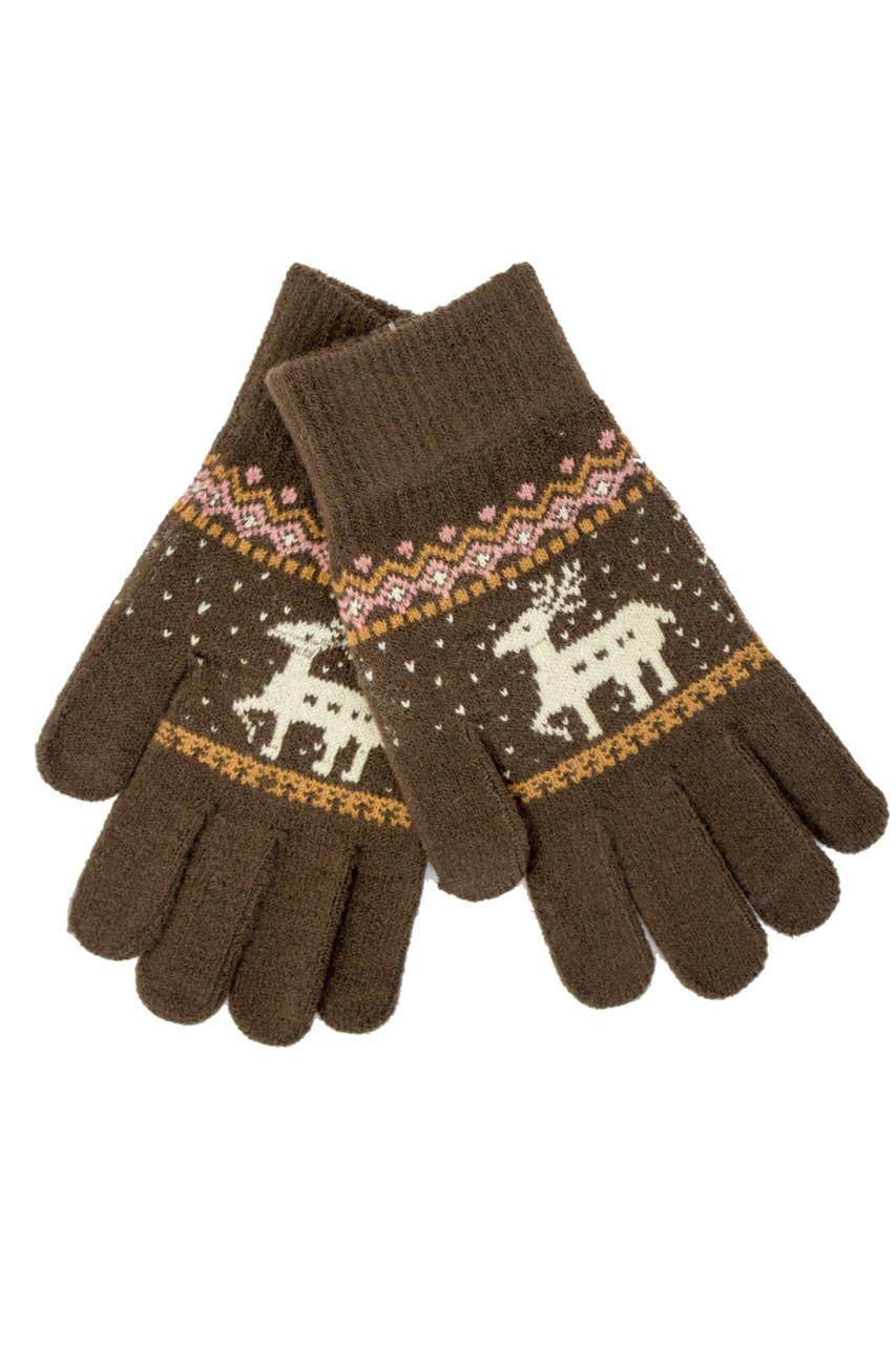 Трикотажные перчатки вязаные 5610-2 коричневый