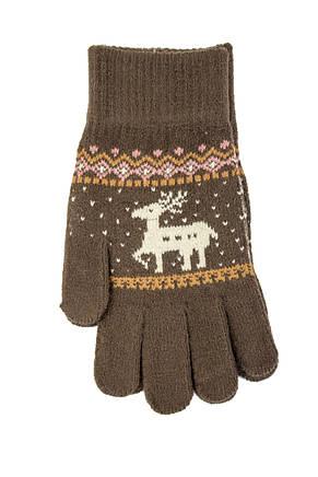 Трикотажные перчатки вязаные 5610-2 коричневый, фото 2