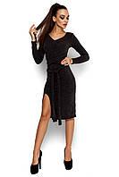 Женское платье, облегающее, трикотаж ангора, т/серое, размер 42-44, 46-48