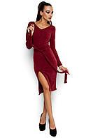 Женское платье, облегающее, трикотаж ангора, бордо, размер 42-44