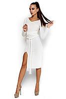 Женское платье, облегающее, трикотаж ангора, белое, размер 42-44, 46-48