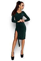 Женское платье, облегающее, трикотаж ангора, т/зелёное, размер 42-44, 46-48