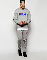 ТЕПЛЫЙ Трикотажный спортивный костюм FILA Фила серый (большой принт)