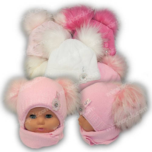 Детский комплект - шапка и шарф для девочки, p. 44-46, Ambra (Польша), утеплитель Iso Soft, G2