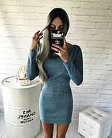 Теплое платье спущенное на одно плече голубой