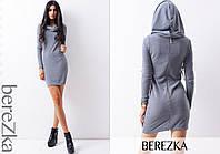 Платье модное теплое мини из ангоры с капюшоном 4 цвета 6SMb1802