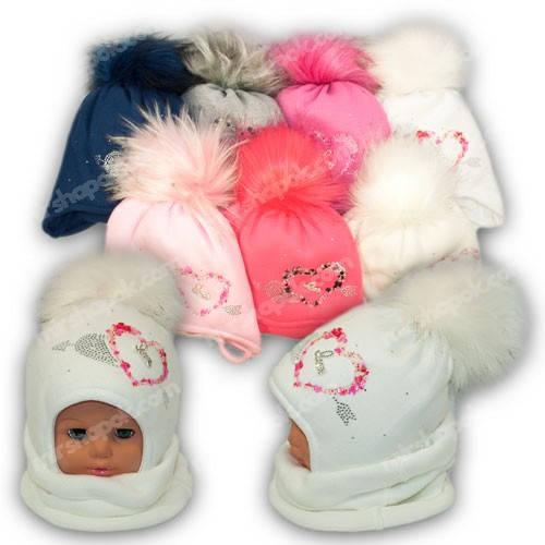 Детский комплект - шапка и шарф (хомут) для девочки, p. 48-50, Ambra (Польша), утеплитель Iso Soft, N34