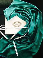 Шарф из шерсти и шелка зеленый