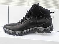Зимние мужские кожаные ботинки 288 черного цвета