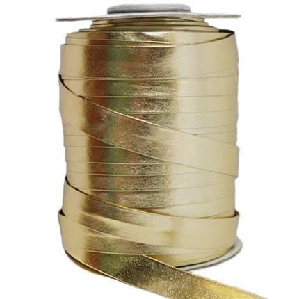 Косая бейка (рулочка) из кожзама Золото, фото 2
