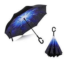 Ветрозащитный зонт обратного сложения UP-brella, АП брелла зонт с ветрозащитой, умный зонт. Акция! Космос