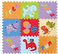 Детский игровой коврик - пазл Развлечения динозавров 92х92 см Baby Great (GB-M1602)