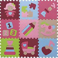 Дитячий ігровий килимок - пазл Цікаві іграшки 92х92 см Baby Great (GB-M1707)