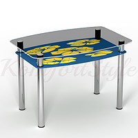 Стол с полкой  стеклянный кухонный Мальва