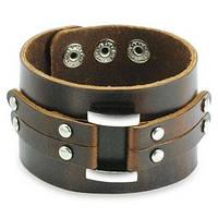 Широкий браслет напульсник кожаный со стальной пряжкой Spikes SL0091-BRN, фото 1
