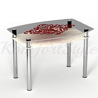 Стол с полкой стеклянный кухонный Барокко