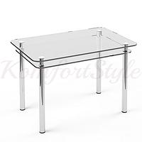 Стол с полкой стеклянный кухонный Кристалл