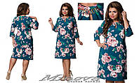 Платье женское костюмка цветочный принт большого размера ТМ Минова  размеры: 50,52,54,56,58,60