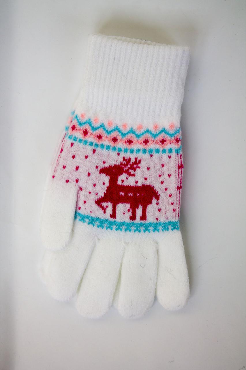 Трикотажные перчатки вязаные 5610-3 белые