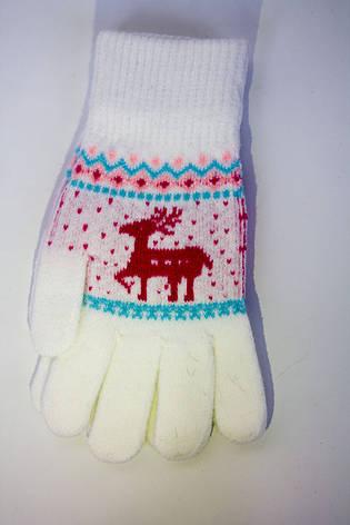 Трикотажные перчатки вязаные 5610-3 белые, фото 2