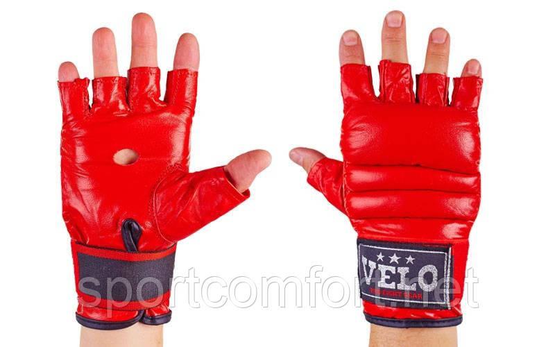 Перчатки боевые (кожа)  Velo Full Contact красные