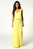 Летнее платье в пол из трикотажа желтого цвета