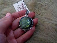 Кулон с камнем лабрадор в серебре. Индия!, фото 1