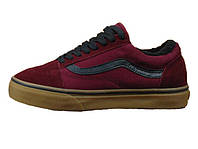Мужские кеды Vans Red Black Old Skool Winter Зима (Реплика ААА+)