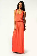 Летнее платье в пол из трикотажа оранжевого цвета