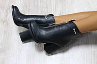 Кожаные женские ботильоны на каблуке