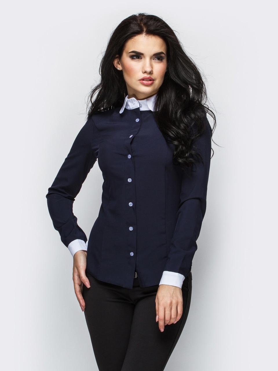 (S, M, L) Стильна жіноча темно-синя сорочка Ramada