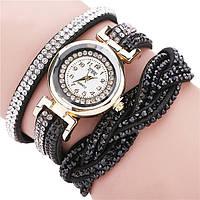 Женские часы со стразами на длинном ремешке (Black)