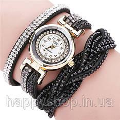Жіночий годинник зі стразами на довгому ремінці (Чорний)