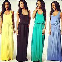Летнее платье в пол из вискозного трикотажа цвета разные