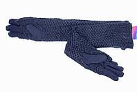 Женские стрейчевые перчатки с ажурной вязкой